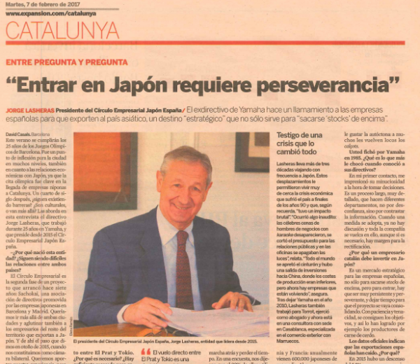 Expansión Catalunya interviews Jorge Lasheras, President of the Japan-Spain Business Circle