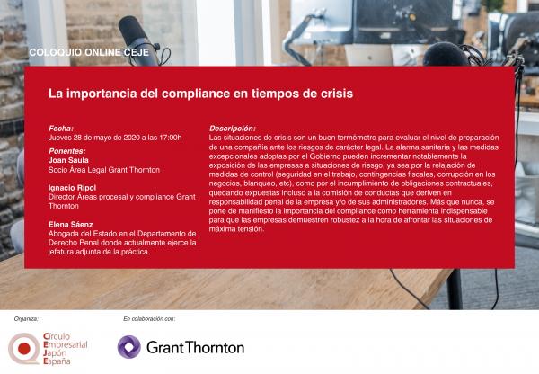 V Coloquios Online CEJE: La importancia del compliance en tiempos de crisis