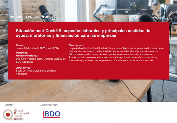 IX Coloquio Online CEJE: Situación post-Covid19: aspectos laborales y principales medidas de ayuda, moratorias y financiación para las empresas