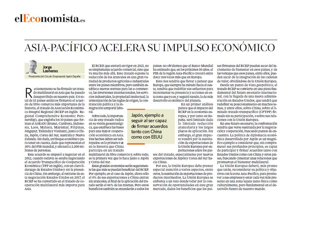 Jorge Lasheras, presidente del Círculo Empresarial Japón-España, voz experta en el Economista