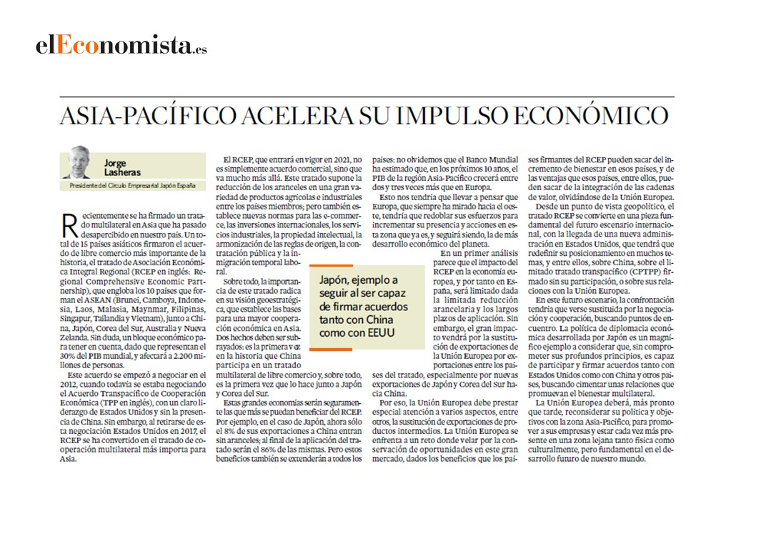 Jorge Lasheras, president of the Japan-Spain Business Circle, expert voice in El Economista